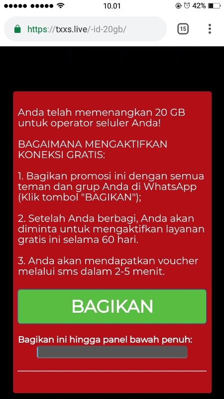 Beredar Pesan Berantai Kuota Gratis 20GB di WhatsApp a1851cbf37