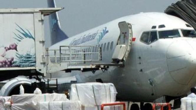 Pesawat Garuda saat di Bandara Soekarno Hatta