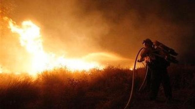 Kebakaran di Angeles National Forest, LA