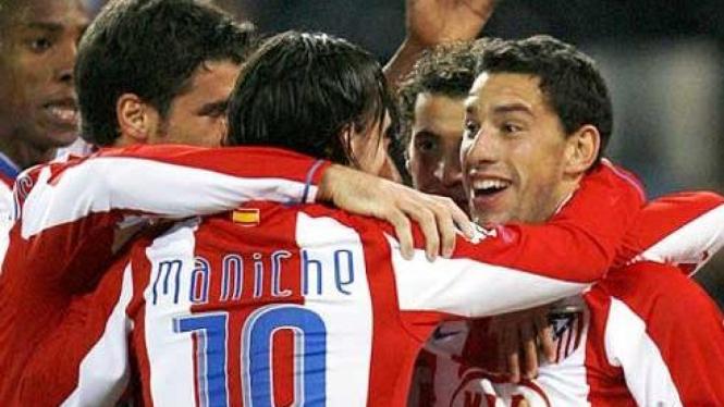 Kegembiraan para pemain Atletico Madrid