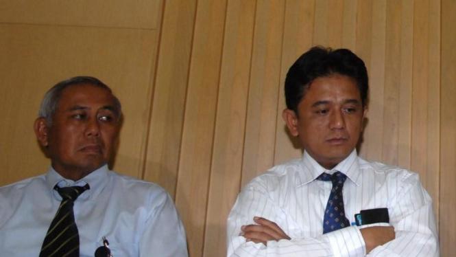 Deputi Penindakan KPK Ade Raharja dan Wakil Ketua KPK Chandra M Hamzah