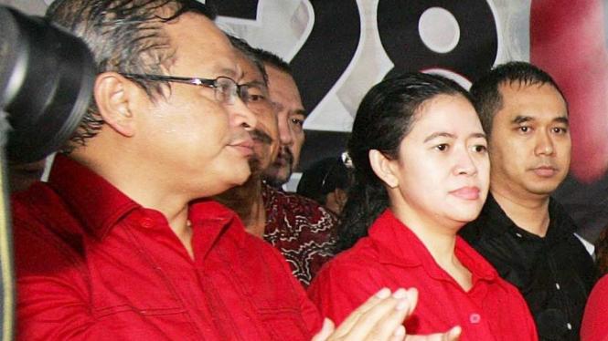 Sekjen PDIP Pramono Anung dan Puan Maharani