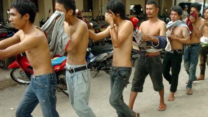 Tersangka preman yang dirazia di Jakarta