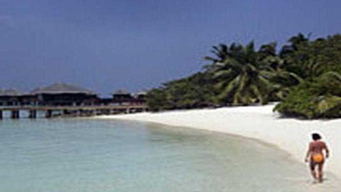 Pemandangan pantai di Maladewa