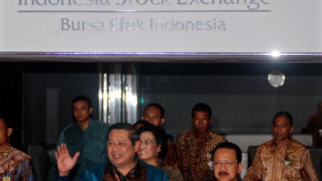 Kedatangan Presiden Susilo Bambang Yudhoyono di  Bursa Efek Indonesia