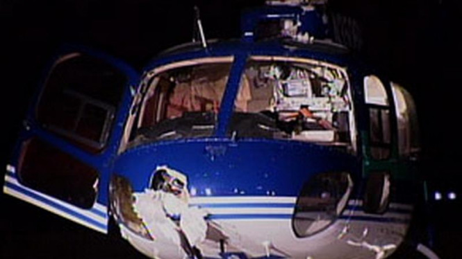 Kondisi helikopter setelah tabrakan dengan seekor burung