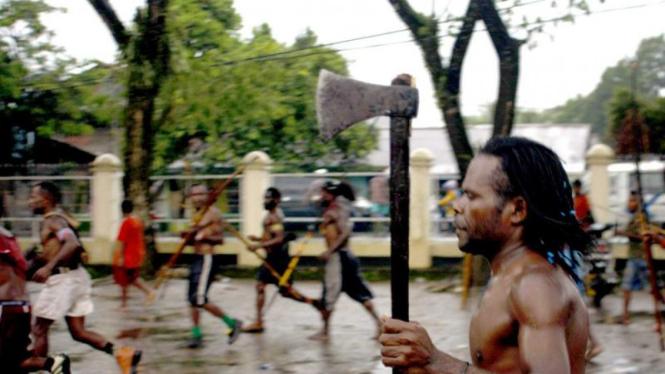 Bentrok di Papua. (Ilustrasi)