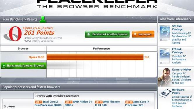 Futuremark Peacekeeper Software Benchmark Browser