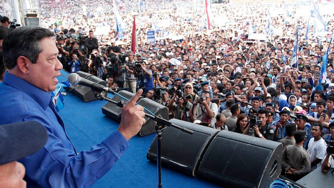 Yudhoyono kampanye Demokrat di Senayan, Jakarta