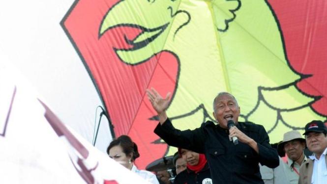 Politikus Partai Gerindra Permadi saat berorasi dalam kampanye Partai Gerindra beberapa waktu lalu