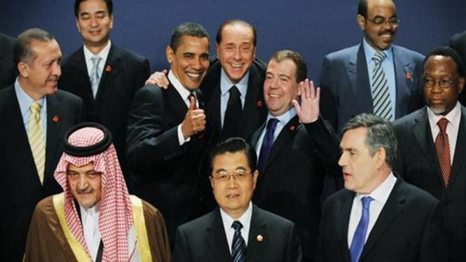 Para pemimpin negara anggota G-20 berfoto bersama