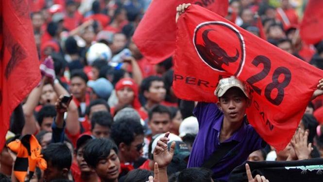 Ilustrasi-Simpatisan Partai Demokrasi Indonesia Perjuangan (PDIP)