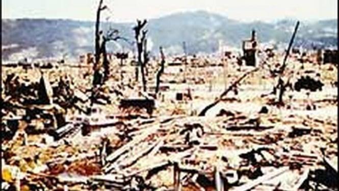 Suasana Kota Hiroshima, Jepang, setelah dijatuhi bom atom 1945