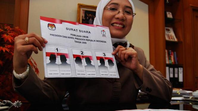 Contoh surat suara untuk Pilpres 2009