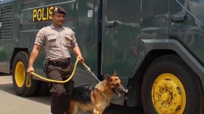 Unit K-9 Kepolisian membawa anjing pelacak