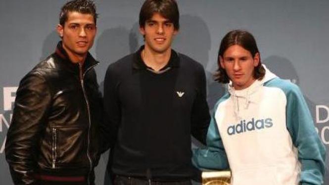 Cristiano Ronaldo, Ricardo Kaka & Lionel Messi