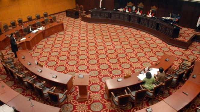 Suasana sidang sengketa hasil Pemilu di Mahkamah Konstitusi