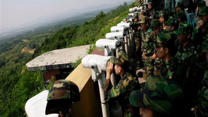 Pasukan Korsel memantau wilayah Korut di zona perbatasan