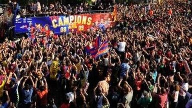 Fans menyambut Barcelona