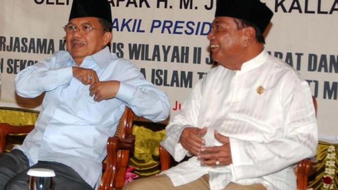 Jusuf Kalla dan mendiang Sukamdani Sahid Gitosardjono beberapa waktu lampau.