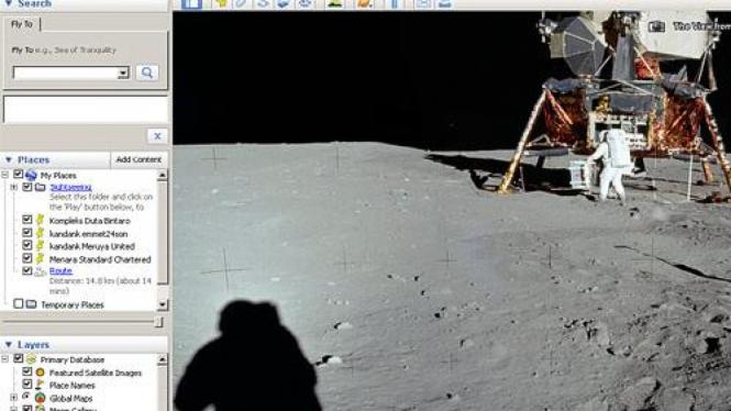 Foto pendaratan Apollo 11 di Bulan dalam Google Earth