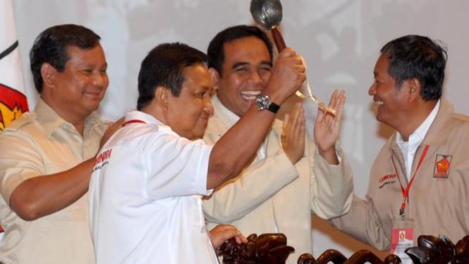 Prabowo, Moerdiono, Ahmad Muzani & Suhardi di Rakernas Gerindra