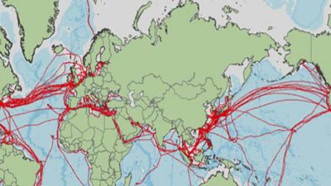 Jaringan kabel bawah laut global (ilustrasi)