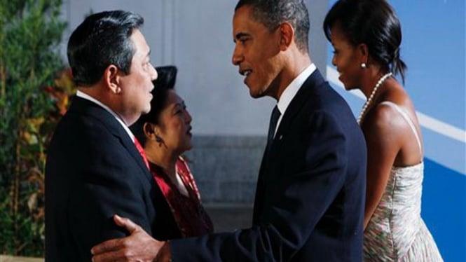 Susilo Bambang Yudhoyono disambut Barack Obama di Pittsburgh, AS