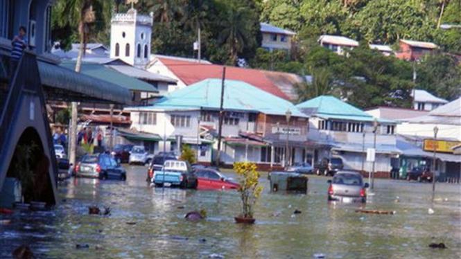 Kota Fagatogo, Samoa Amerika, usai dilanda tsunami
