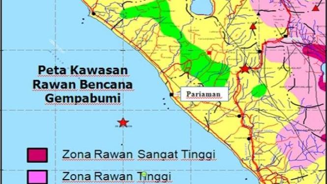 Peta zona rawan gempa