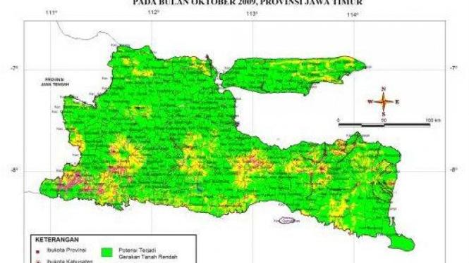 Peta zona rawan gempa Jawa Timur