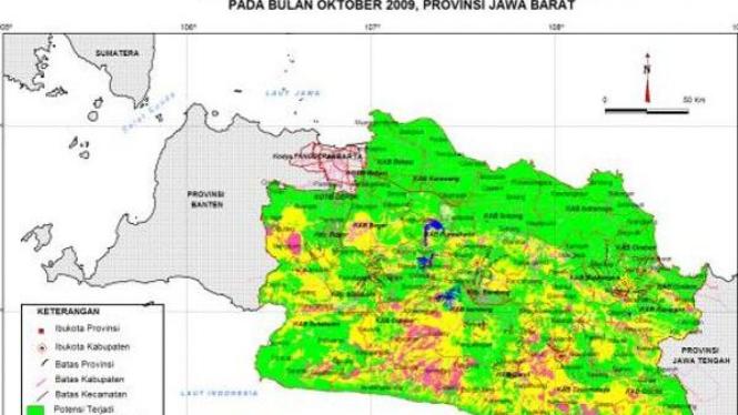 Peta zona rawan bencana Jawa Barat