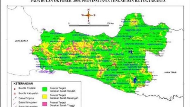 Peta zona rawan bencana di Jawa Tengah