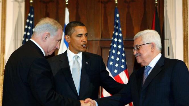 Barack Obama, Benjamin Netanyahu dan Mahmoud Abbas