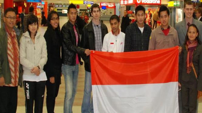 Para pemain bulu tangkis Indonesia saat tiba di Praha, Ceko