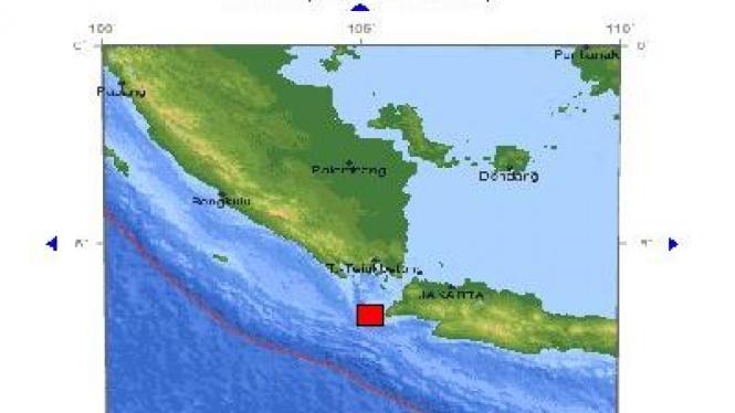 Pusat gempa Ujung Kulon