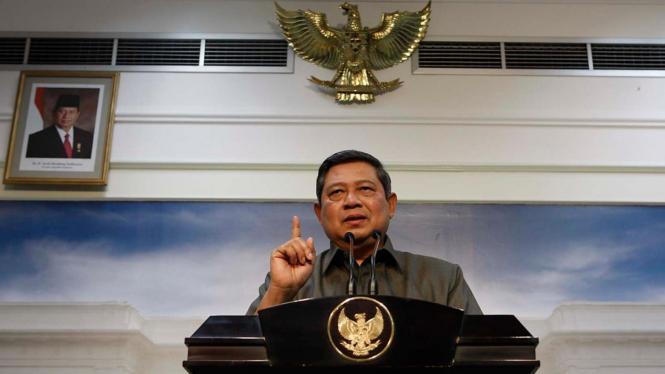 Presiden Susilo Bambang Yudhoyono (SBY) jumpa pers soal KPK