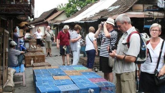 Wisatawan asing di Pasar Burung Ngasem, Yogyakarta