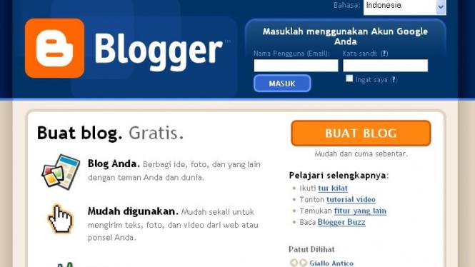 Situs layanan blog Blogger.com