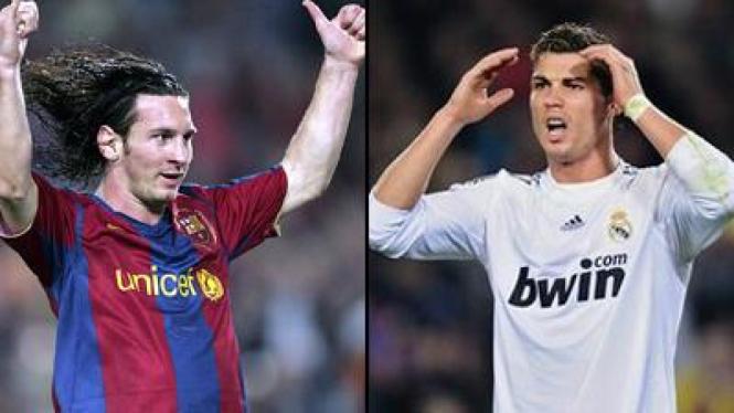 Leo Messi (kiri) dan Cristiano Ronaldo