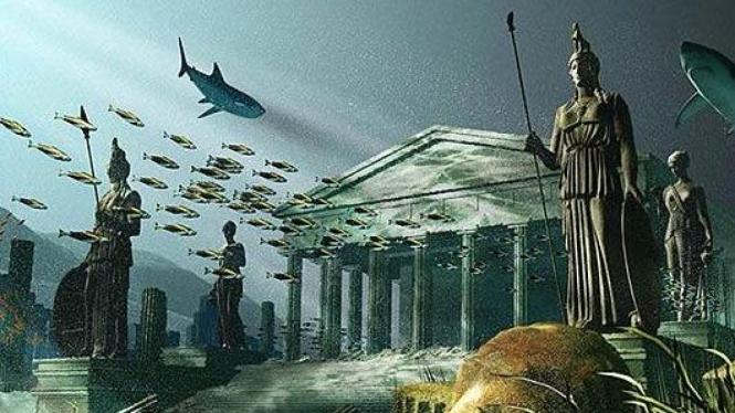Gambaran Kota Atlantis yang hilang ditelan lautan.