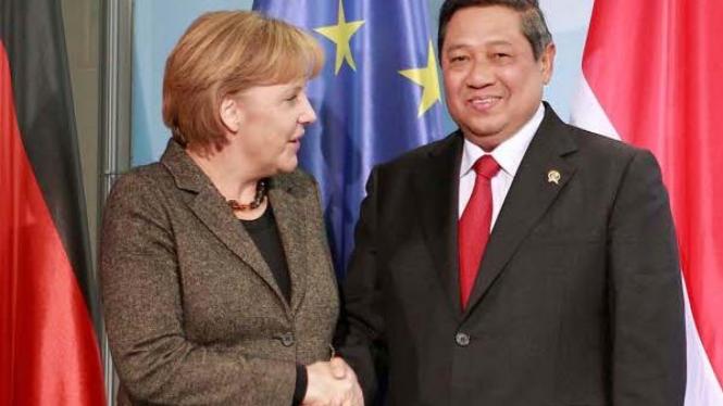 Presiden SBY dan Kanselir Jerman Angela Merkel
