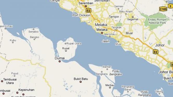 Peta Selat Malaka, pemisah Dumai (Indonesia) dan Malaka (Malaysia)