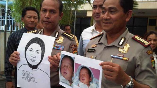 Foto sketsa pelaku penculik bayi di Puskesmas disebar