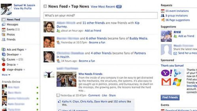 Tampilan baru yang sedang disiapkan Facebook