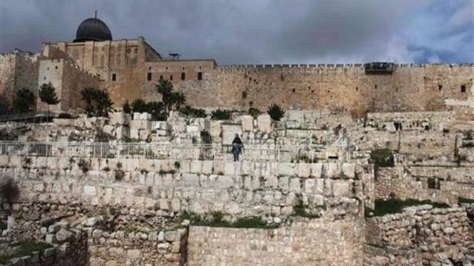 Lokasi penggalian arkeologi di dekat tembok Kota Lama di Yerusalem