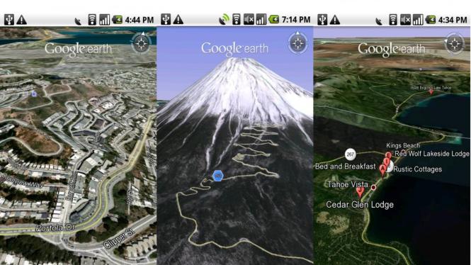 Beberapa tampilan Google Earth di ponsel Android