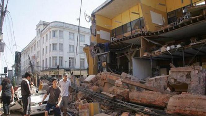 Suasana kota Concepcion, Cile, usai diguncang gempa bumi