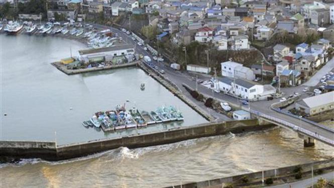 Pemandangan Kota Kamogawa, Jepang, saat dilanda tsunami