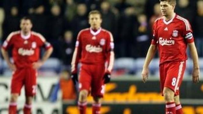 Pemain Liverpool ratapi kekalahan